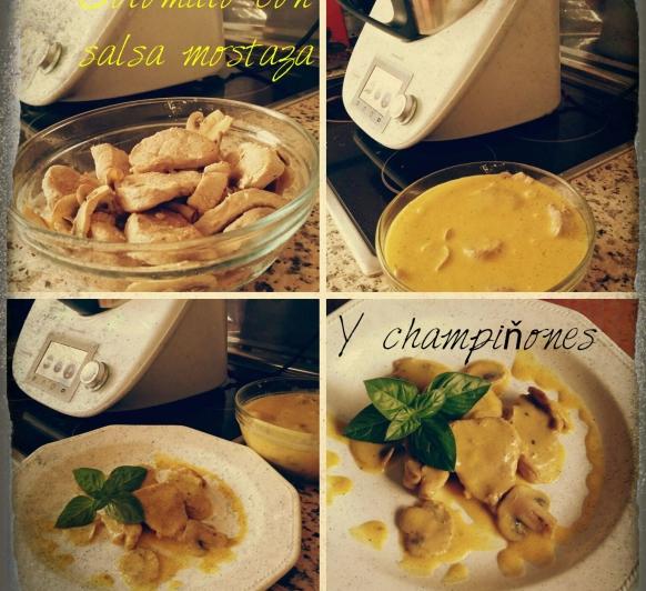 Solomillo de cerdo con champiñones en salsa de mostaza con Thermomix®